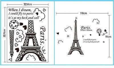 New Paris Eiffel Tower Vinyl Art Decal Mural Home Room Wall Sticker Decor 3