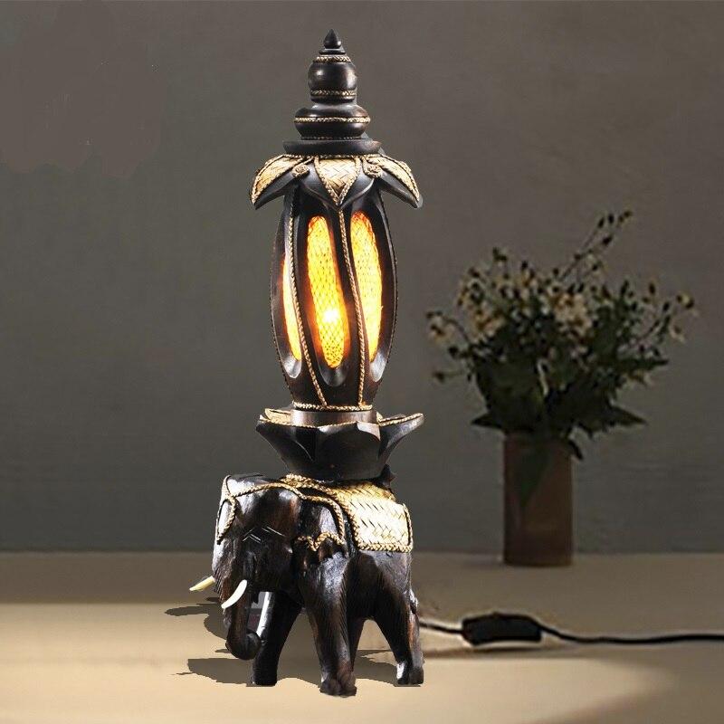 Lampe éléphant créative thaïlande barre de chevet en bois rétro décoration de la maison entrée asie du sud-est lampe de table ya7228