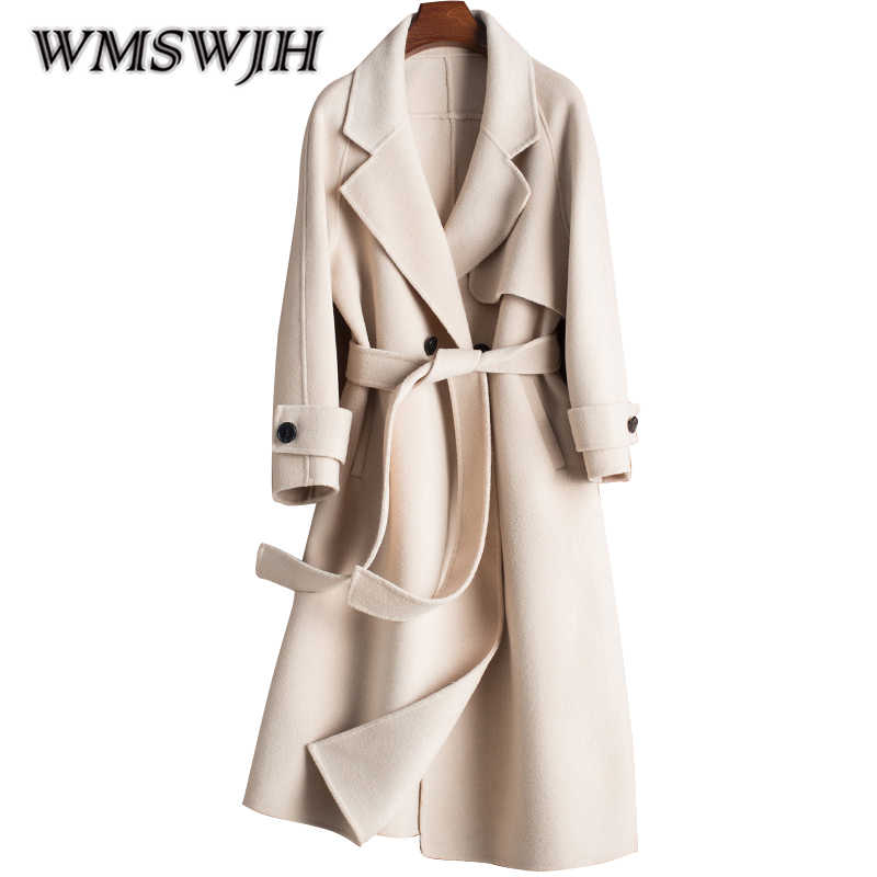 2019 New Women Handmade Sided Cashmere High Quality Coat Woolen Sashes Autumn and Winter Vouge 100% Double Side Wool Overcoat