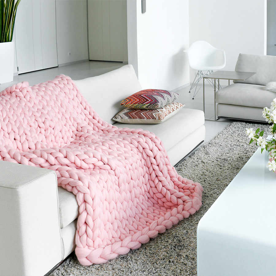 Alternative Sofa Hand Knitted Chunky Blankets Home Decorative Sofa Chair Throw Blankets Super Soft Arm Knitting Merino Wool Alternative Blankets