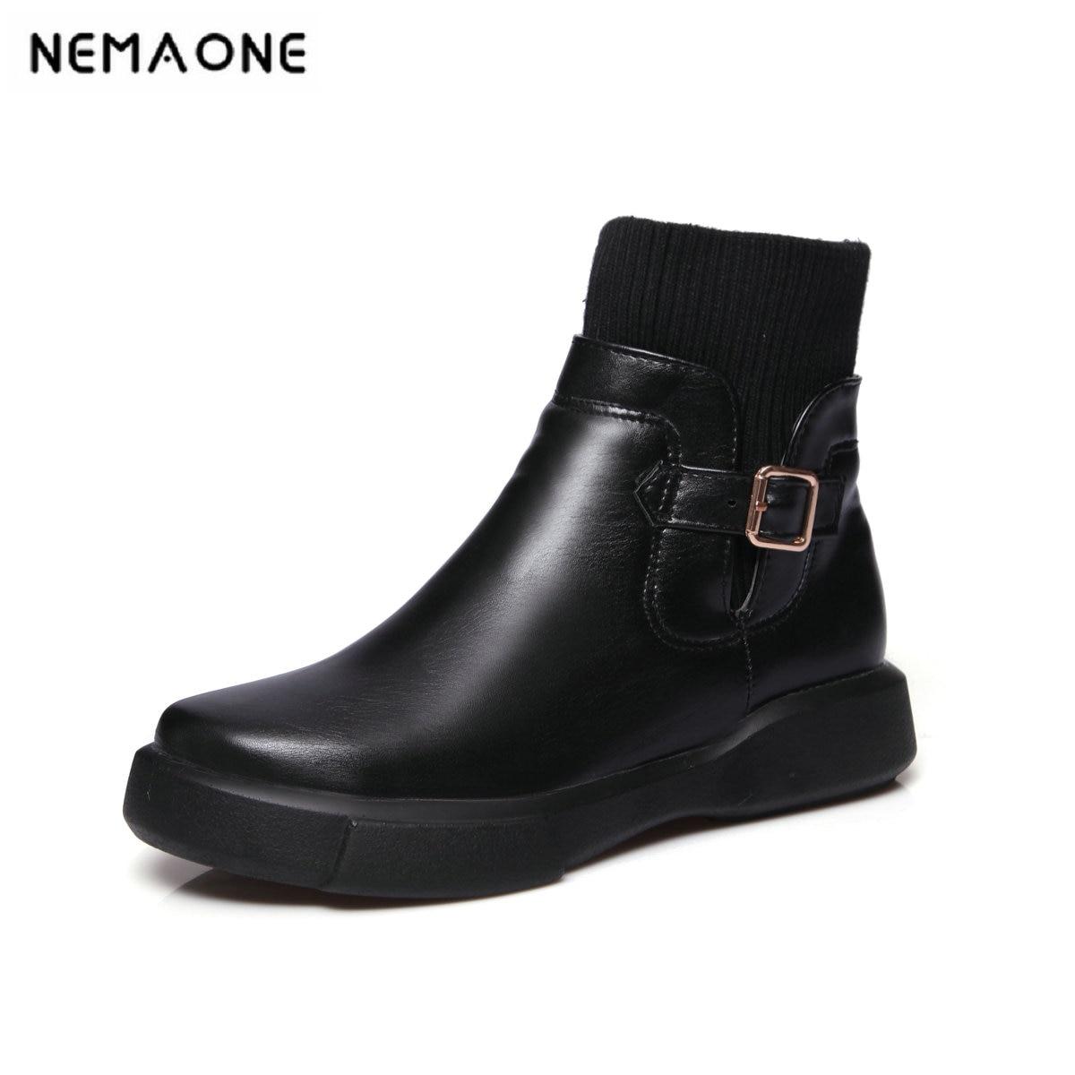2019 Automne Et À Noir Noir Doux Blanc Taille 34 blanc Il Chaussures Partie 43 Talons Bas Bottes De Robe Grande Printemps Femmes Cheville vm8O0Nnw