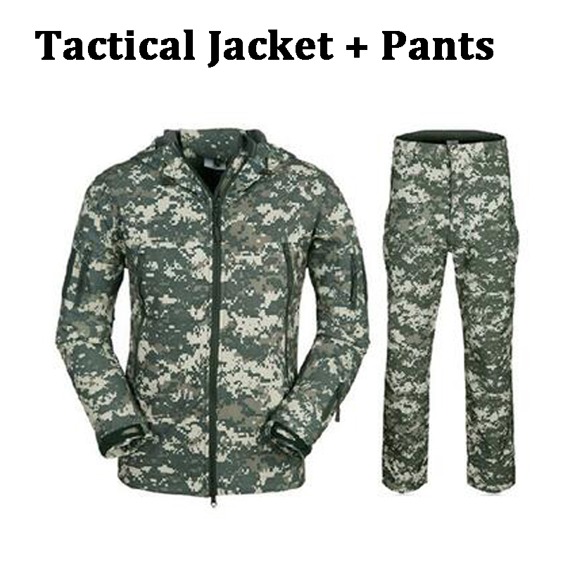 Camouflage Hunting Clothes Shark Skin Soft Shell Lurkers Tad V 4.0 Outdoor Tactical Military Jacket + Pants Suits цена