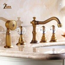 ZGRK حوض الحنفيات العتيقة النحاس سطح السفينة 5 ثقوب خلاط حوض الاستحمام صنبور يده دش على نطاق واسع الحمام صنبور مجموعة مياه الحنفية