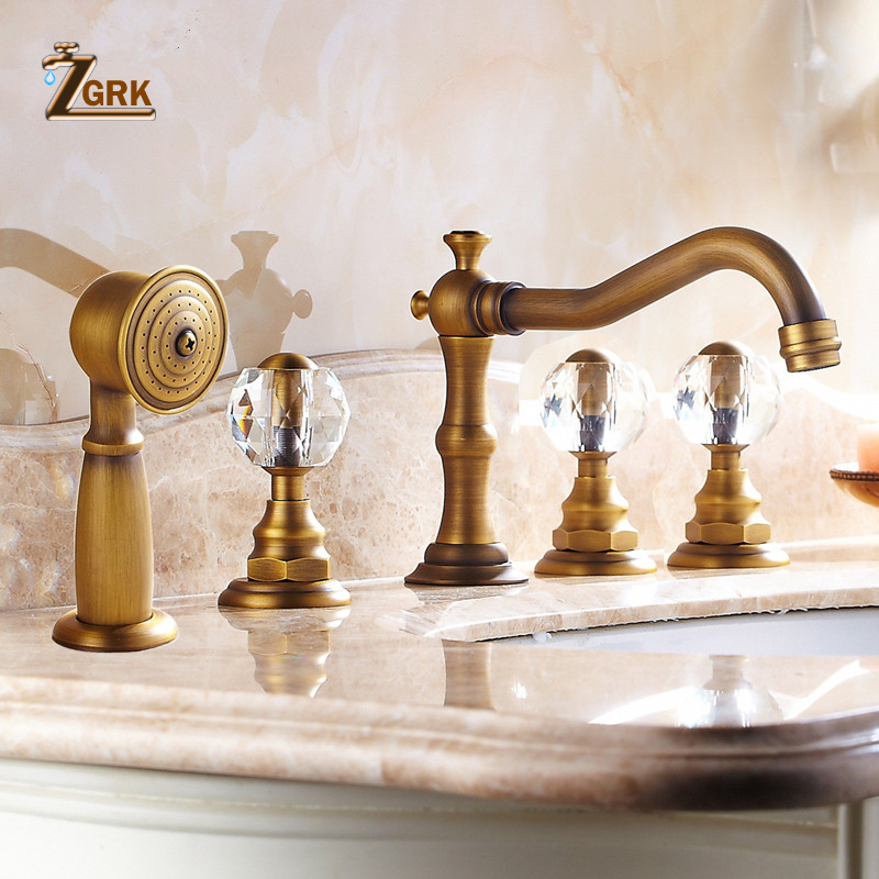 ZGRK Basin Faucets Antique Brass Deck 5 Holes Bathtub Mixer Faucet Handheld Shower Widespread Bathroom Faucet Set Water TapZGRK Basin Faucets Antique Brass Deck 5 Holes Bathtub Mixer Faucet Handheld Shower Widespread Bathroom Faucet Set Water Tap