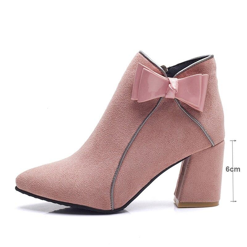 tie Para Bow Costura Ankle Fiesta Black Con Altos Invierno pink De Punta Zapatos khaki Cuadrada Mujer Elegante Cremallera Flock Tacones Puntiaguda Nuevas 2018 Botas wTq8YX