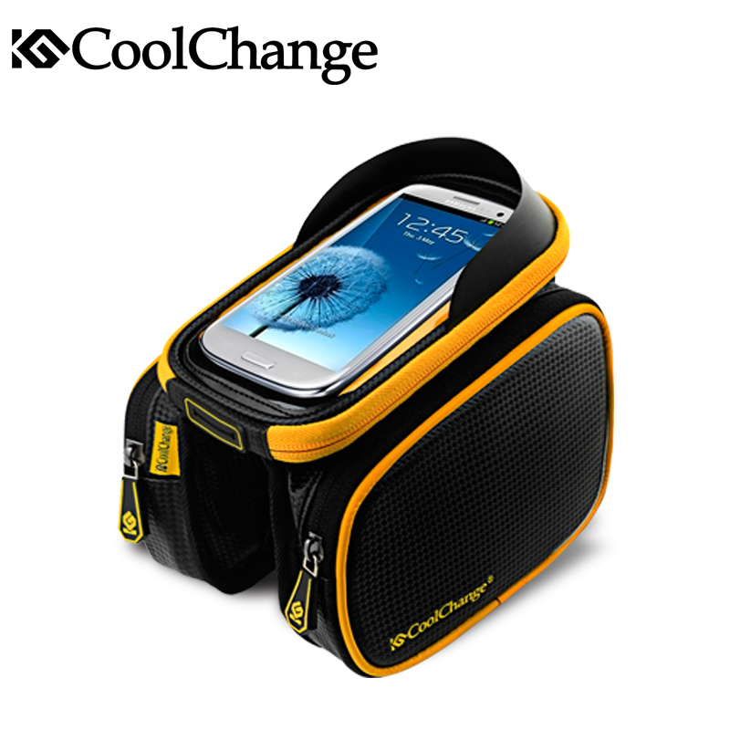 Coolchange Bike Bicycle Ride Frame Front Head Top Tube Bag&Double IPouch Cycling Pannier For 6.0 in Cell Phone Smartphone Case