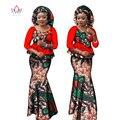 BRW Осень Базен Riche Плюс Размер Печати 2 Шт. Юбка Набор с капюшоном Dashiki Традиционных Африканских Одежды для Женщин WY1304