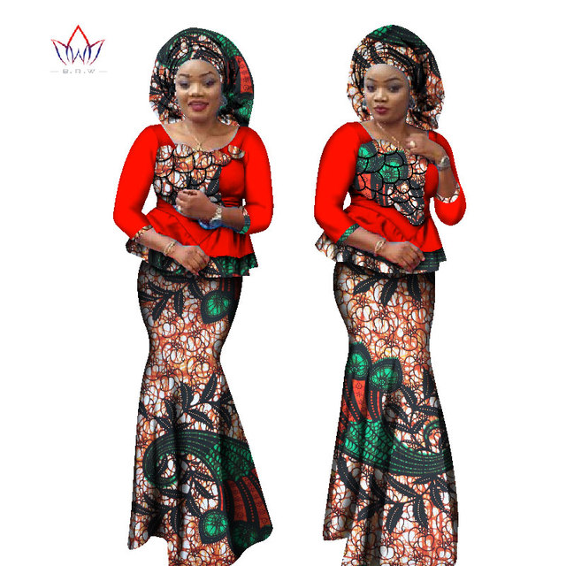 7c556299c1 BRW Autumn Bazin Riche Plus Size Print 2 Piece Skirt Set with hood Dashiki  Traditional African