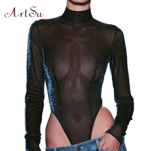 ArtSu Women Sexy Bodysuit Thin Mesh See-through Long Sleeve