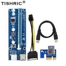 TISHRIC 10pcs VER006C PCI Express Riser Card Extender PCI-E PCIE 1x 16x USB 3.0 Molex 6Pin to SATA Adapter Cable For BTC Miner цена