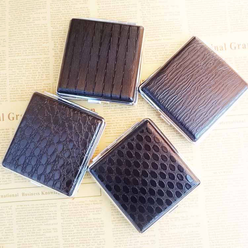 Retro Leather Metal Cigarette Box Pouch Case Holder Tobacco Storage Container Random Color