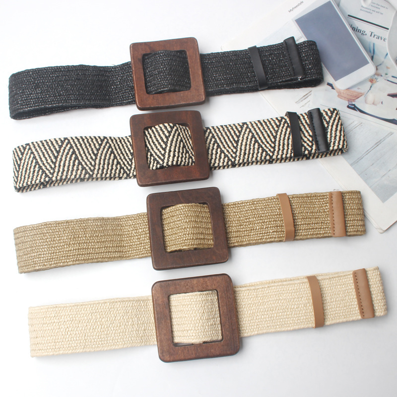 New Vintage Knitted Wax Rope Wooden Bead Waist Rope Women Smooth Buckle Belt Woman Woven Female Hand-Beaded Braided Belt BZ30