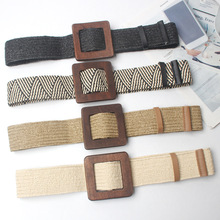 New Vintage Knitted Wax Rope Wooden Bead Waist Women Smooth Buckle Belt Woman Woven Female Hand-Beaded Braided BZ30