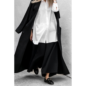 Image 4 - [AZURE SHEN] Non custom 2017 Herfst Mode Effen Zwart Casual Lange Vrouwen Jas Losse Oversized Jas Vrouwen Split Jassen U370