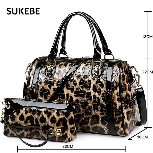 2017 New Fashion Leopard Print Bags Two Piece Per Set Wallet Handbags Women Bag Shoulder Crossbody