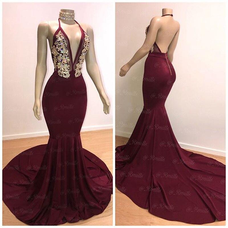 Long Sexy   Prom     Dresses   2019 Elegant Mermaid Halter African Black Girl Burgundy Backless Crystals Graduation Women   Prom     Dress