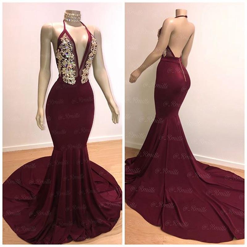 Long Sexy   Prom     Dresses   2020 Elegant Mermaid Halter African Black Girl Burgundy Backless Crystals Graduation Women   Prom     Dress