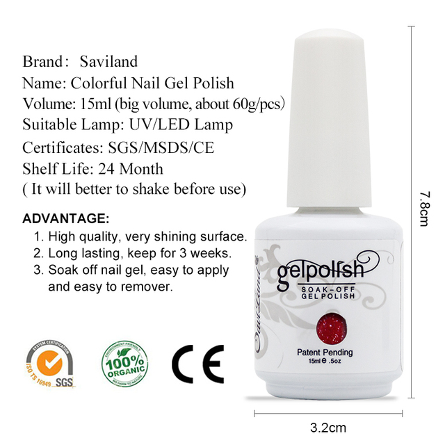 Saviland 1pcs UV Gel Nail Polish 15ml Gelpolish Nail Art Fashion Glitter Colors Optional Varnish LED UV Gel Polish