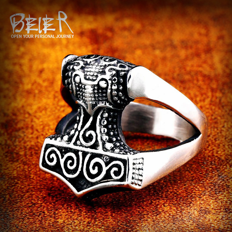 Beier 316L Stainless Steel man ring high quality nose Vikings Odin 's Symbol Myth raven Ring jewelry Amulet Vintage SMR003(China)