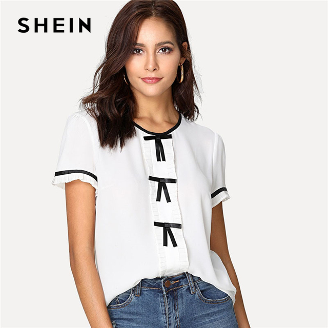9d34f31d5a SHEIN Bow Tape Frill Trim Keyhole Back Top Women White Round Neck Short  Sleeve Preppy Blouse