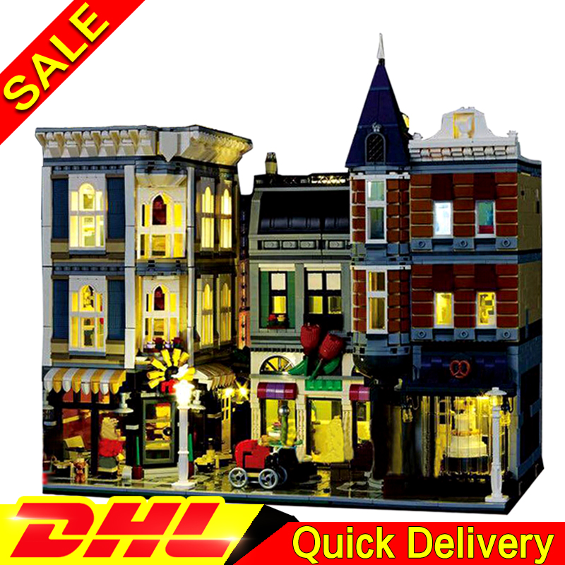 With light 15019B 4122Pcs LEPIN 15019 4002Pcs Assembly Square Creator City Series Model Building Kits Brick Toy Clone 10255 lepin 15018 3196pcs creator city series sunshine hotel model building kits brick toy compatible christmas gifts