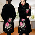 Plus size M-5XL 2016 Inverno Outwear parka mulheres de veludo bordado espessamento de Algodão-acolchoado casaco longo casaco outerwear das mulheres