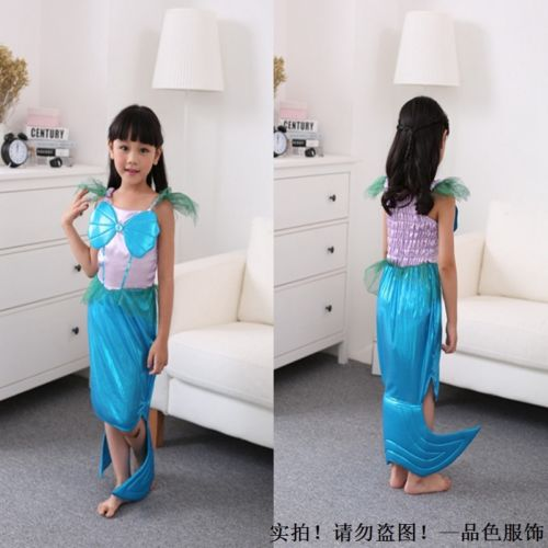 Halloween Cute Mermaid Fish Tail Girl Kid Child Cosplay Costume Blue Dress