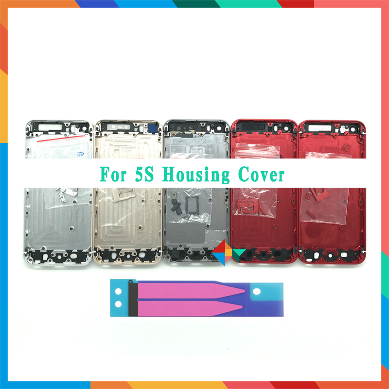High Quality For Iphone 5 5G / 5S / SE Back Housing Cover Battery Cover Rear Door Chassis Middle Frame + Battery Sticker