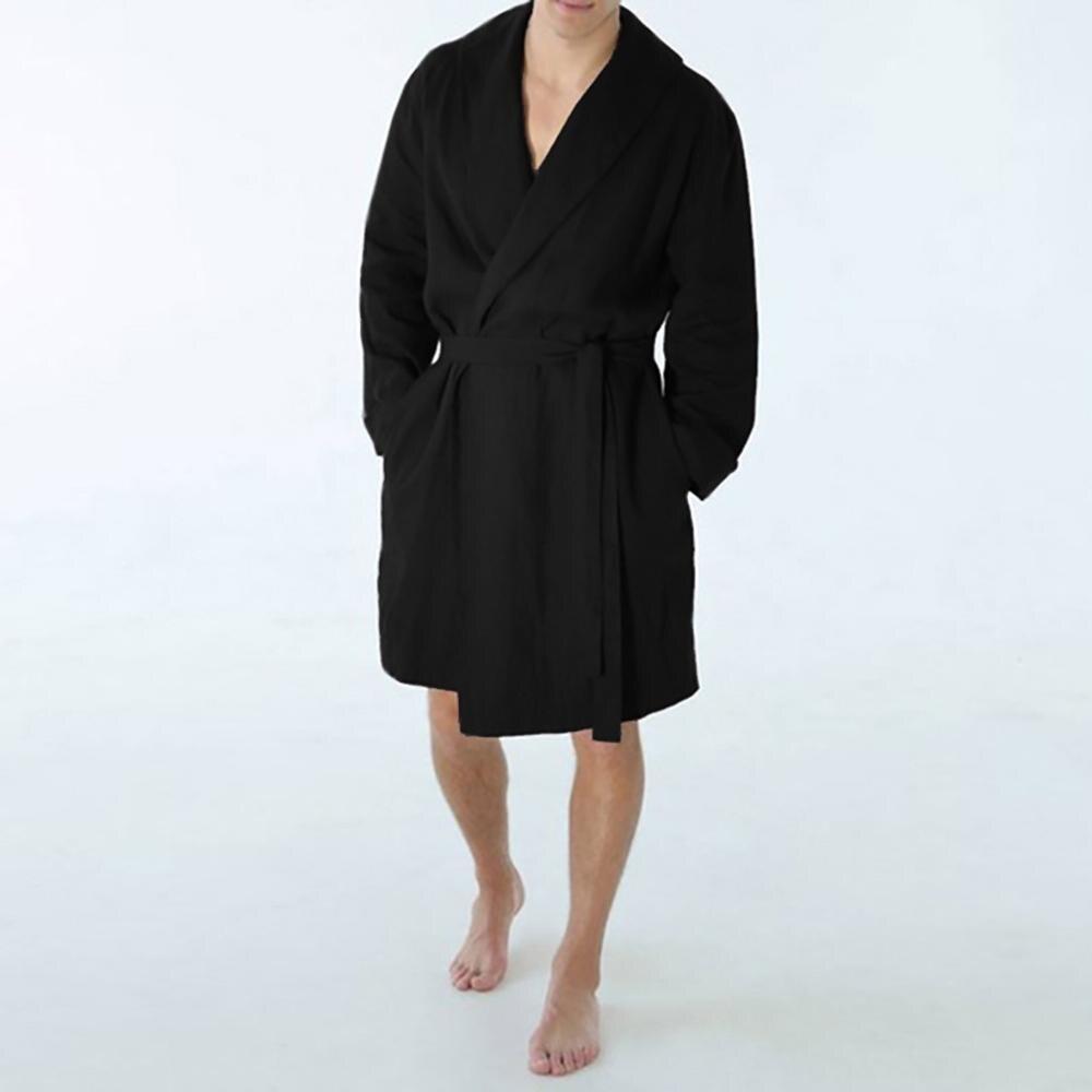 Men's cotton and linen long home robe pajamas Casual Pure Color Cotton Linen Long Bathrobe Home Nightgown Pajamas Robe #0712(China)