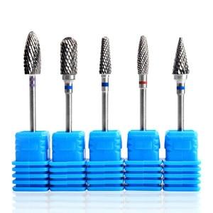 Image 1 - 1 шт. синий конусный наконечник для ногтей вольфрамовые стальные сверла электрическая кутикула чистая ротационная для маникюра педикюра Шлифовальная головка инструмент