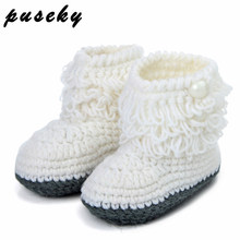 Puseky Woolen Baby Shoes Infants Crochet Knit Fleece Warm Boots Toddler Girl Boy Wool Snow Crib Shoes Winter Booties(China)