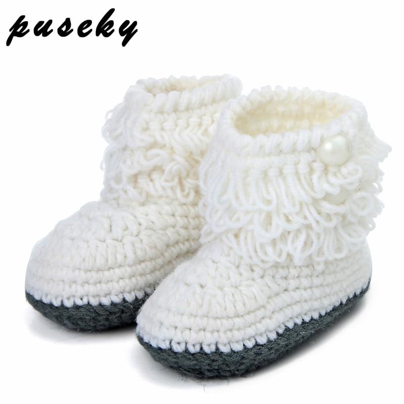 Puseky lana zapatos de bebé bebés ganchillo tejer lana botas ...