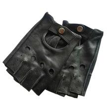 Męskie skórzane rękawiczki wysokiej jakości antypoślizgowe pół palcowe rękawiczki bez palców 3 L01