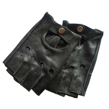 Mens Leather Gloves High Quality Non-slip Half Finger Sheepskin Fingerless 3-L01