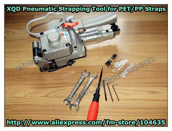 Бесплатная доставка! XQD-19 пневматический Пластиковые связывая инструмент, пластиковые обвязки натяжителя уплотнительная Режущий инструмент для бумаги поддон 13-19 мм