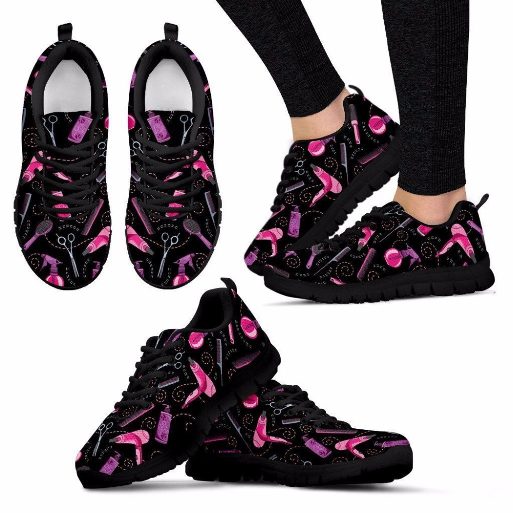 FORUDESIGNS Low Top Flat Shoes Women Lace-up Sneakers Female Funny Design Summer Flats for Teen Girls Hair Stylis Walking Shoes e lov women casual walking shoes graffiti aries horoscope canvas shoe low top flat oxford shoes for couples lovers
