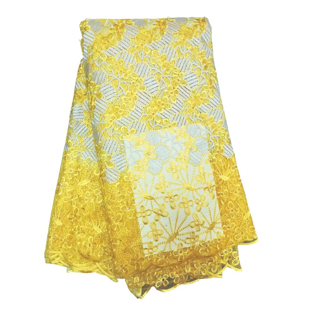New Arrival High Quality Lace Fabric With Nigerian Embroidered Bridal Laces Fabric Yellow Orange French Swiss Voile Lace Fabric