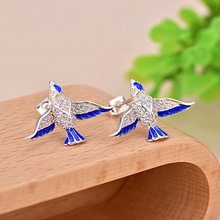 925 Silver Women Stud Earring Unique Shiny Zircon for Swallow Fashion Personality Jewelry