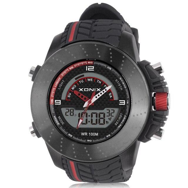 Top Diving Brand XONIX 2016 New Unique Design Men's Speed Racer Steel Rock Watch LED Digital Quartz Dual Display Rubber Watches
