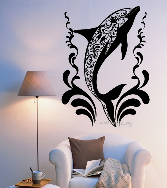 date creative dolphin wall sticker vinyle diy auto adhsif ocan ornement mural stickers muraux autocollants - Decoration Stickers Muraux Adhesif