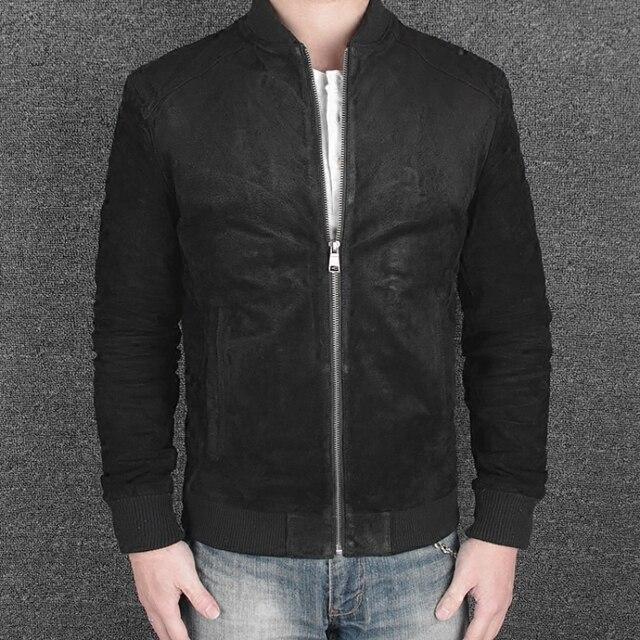 Nueva llegada 2016 ropa de los hombres chaqueta de piel de cerdo genuina masculina de cuero chaqueta de bombardero