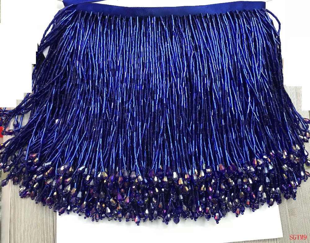 Royal blue Handmade 15cm wide beaded fringe trimming,5yard, about 270 beads threads/yard SGTM9