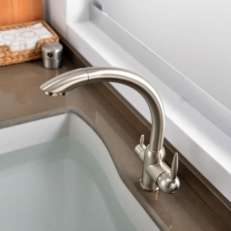 Robinet de cuisine 3 voies double support double trou filtre eau robinet de cuisine Chrome noir doré robinet d'eau potable - 3