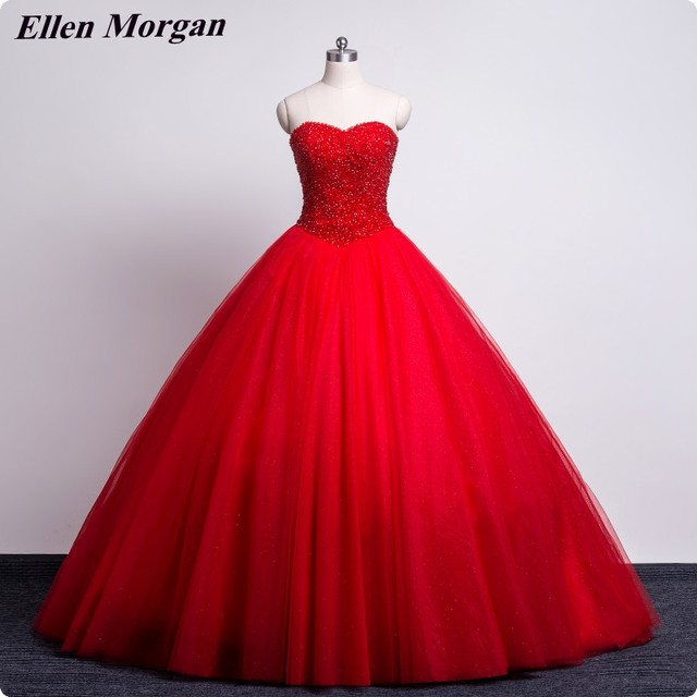 Red Stone Wedding Dresses 2018 Sexy Sweetheart Lace up Corset Puffy Special Occasion Princess Cheap Bridal Gowns Real Picture