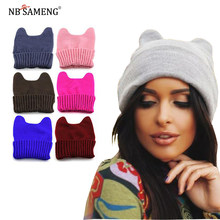 03c39f6674b Women Men Winter Hats Cat Ear Warm Soft Unisex Crochet Knitted Hat Elastic Beanie  Cap Fashion Woolen Korean Style Hats