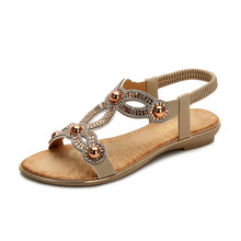 все цены на Brand Bohemia Summer Women Zapatos De Mujer Ladies Bling Flower Crystal Flat Sandals Beach Casual Shoes Sandalias Mujer 2019 онлайн
