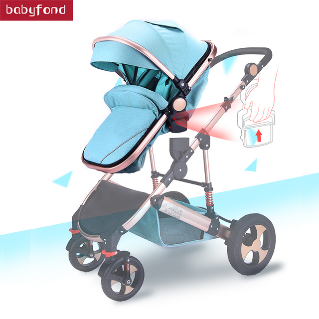 2018 Baby Stroller Can Sit and lying stroll Folding  High Landscape Four Seasons Universal Baby  pram 2  in 1 stroller  2