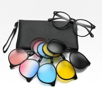 Brand Polarized Sunglasses Eyeglasses Frames With 5+1 Clip On Men Magnetic Myopia Prescription Glasses Women New