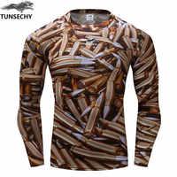 Nova marca TUNSECHY amador invólucros de Bala Ao Ar Livre homens impresso camisetas com mangas compridas apertadas homem bala 3d impressos camisetas