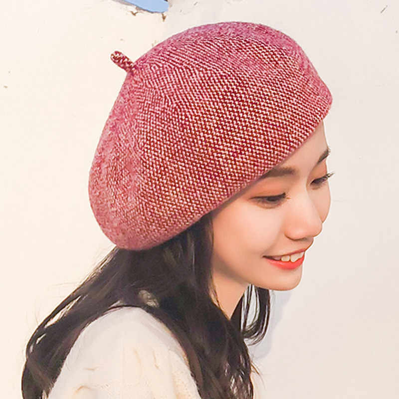 f1cc32a3 ... Fashion Wool hat knit painter cap for Women beret female hat autumn and  winter Warm British ...
